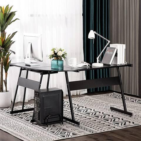 Reversible Black Gaming Desk Corner Desk Modern L-Shaped Computer Desk