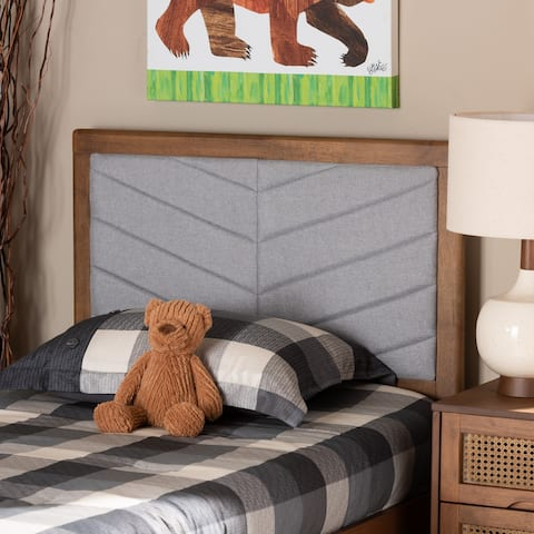 Iden Modern and Contemporary Fabric and Wood Twin Headboard in Grey