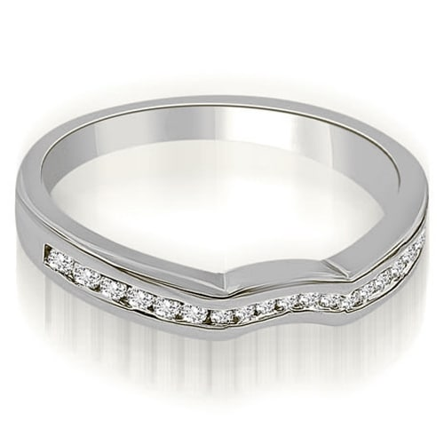0.24 cttw. 14K White Gold Channel Set Curved Round Cut Diamond Wedding Band