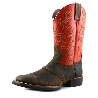 Justin Boots Silver Orange Cattleman Men Square Toe Leather Orange Western Boot