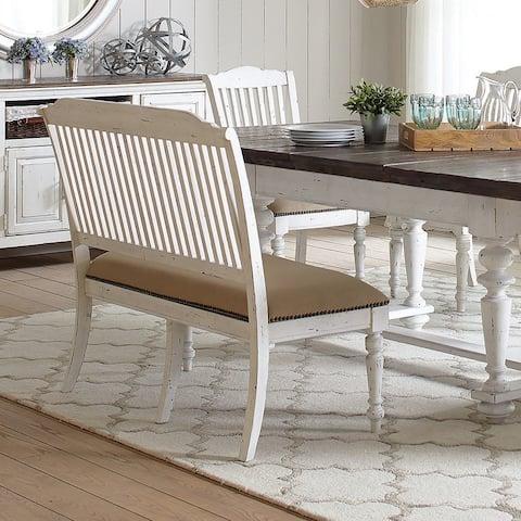 Corvallis Upholstered Slat-back Linen Bench