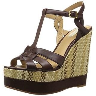 Lauren Ralph Lauren Womens Maeva Wedge Sandals Leather T-Strap