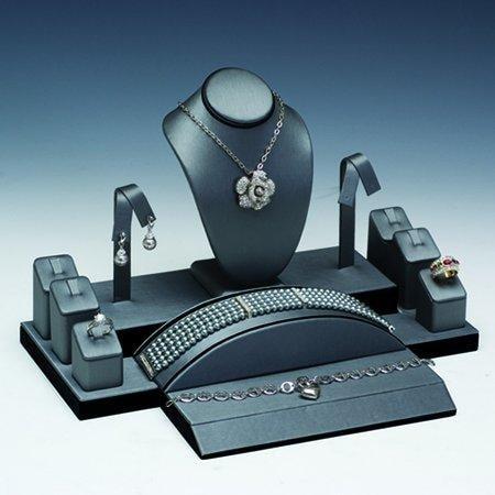 MW-MM Jewelry Supplies 10 Pc Steel Gray W/black Faux Disp Set