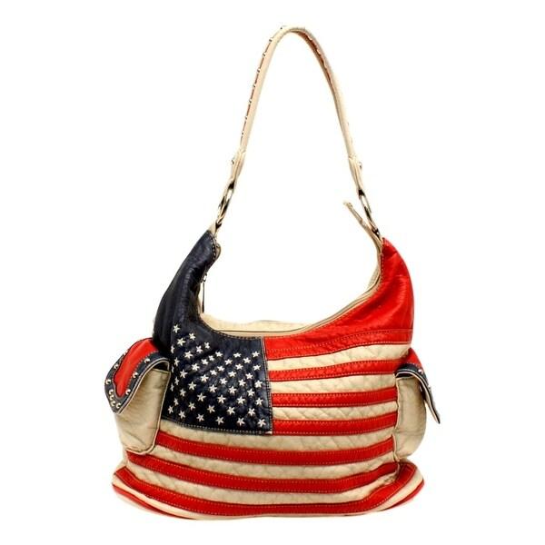 "Blazin Roxx Western Handbag Women Americana Bucket Flag White N7587097 - white red blue - 14"" x 5 1/2"" x 9"""
