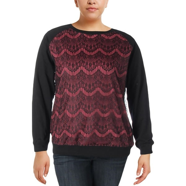 Junarose Womens Plus Sweatshirt Colorblock Lace Overlay