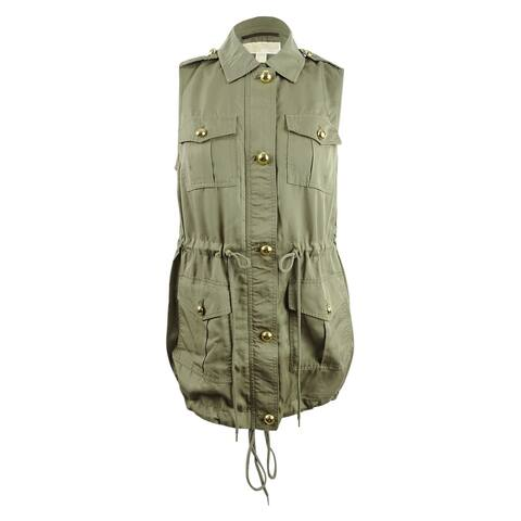 Michael Michael Kors Women's Plus Size Cargo Vest (0X, Safari Green) - Safari Green - 0X