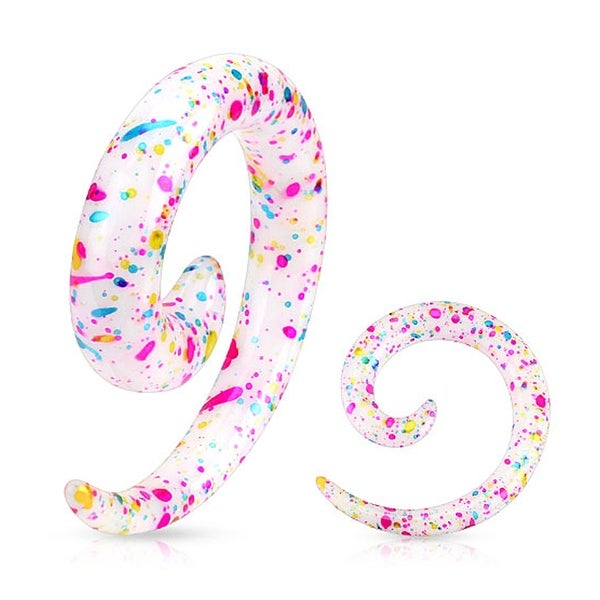 Paint Splatter Printed Acrylic Spiral Taper (Sold Individually)