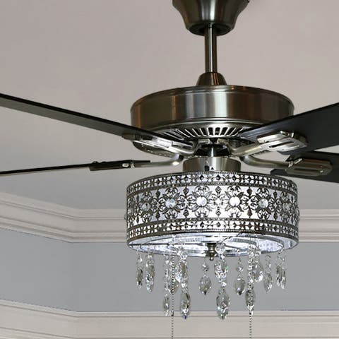 "Copper Grove Cagua 52-inch Crystal LED Chandelier Ceiling Fan - 52""L x 52""W x 18.25""H - 52""L x 52""W x 18.25""H"