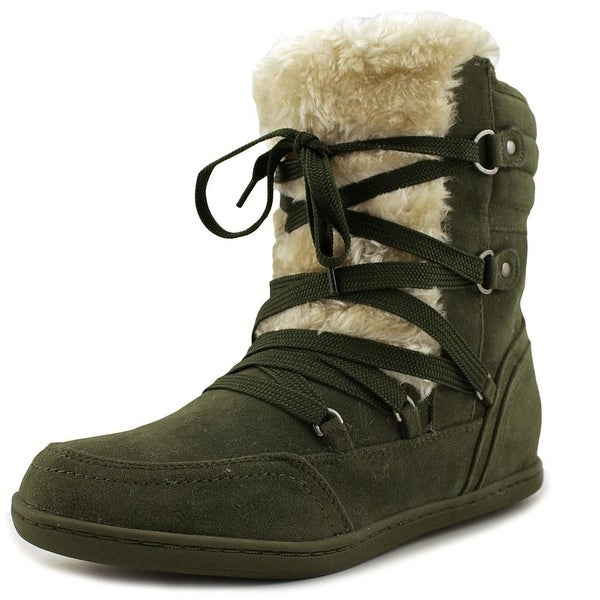 G By Guess Ryla Women Round Toe Canvas Green Winter Boot