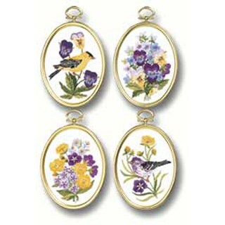 """3.25""""X4.25"""" Stitched In Floss - Wildflowers & Finches Embroidery Kit Set Of 4"""