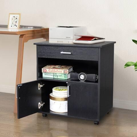 1-Drawer Double Doors Wooden Filing Cabinet Black
