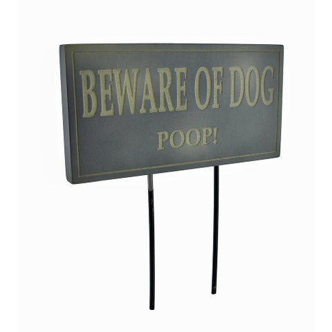 Funny Beware of Dog Poop Lawn/Garden Stake Sign Post Slate - 8.5 X 7.5 X 0.75 inches