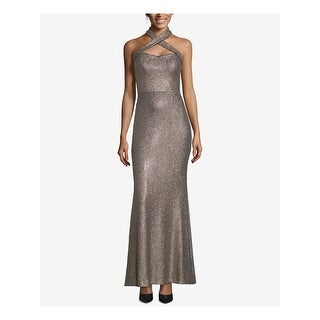 Link to XSCAPE Womens Gold Sleeveless Full-Length Evening Dress  Size 4 Similar Items in Dresses