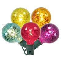 Set of 10 Multi-Color Mercury Glass G50 Globe Christmas Lights - Green Wire
