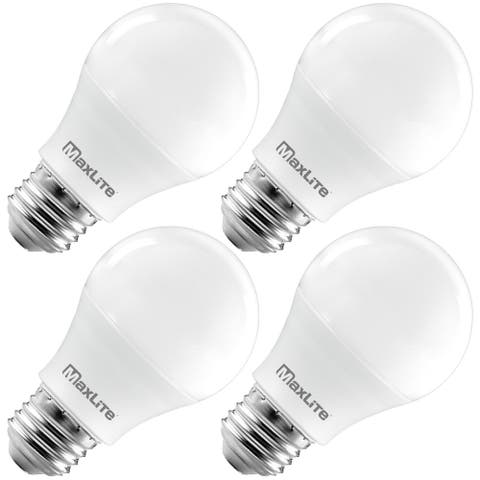 MaxLite A19 LED Bulb, Enclosed Fixture Rated, 40W Equivalent, 450 Lumens, Dimmable, E26 Base, 2700K Soft White, 4-Pack