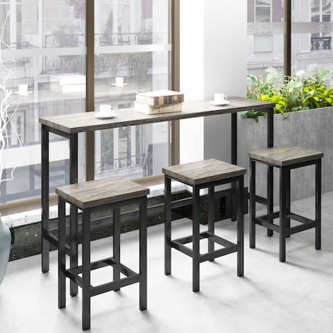 Nestfair 4-Piece Counter Height Extra Long Dining Table Set with 3 Stools