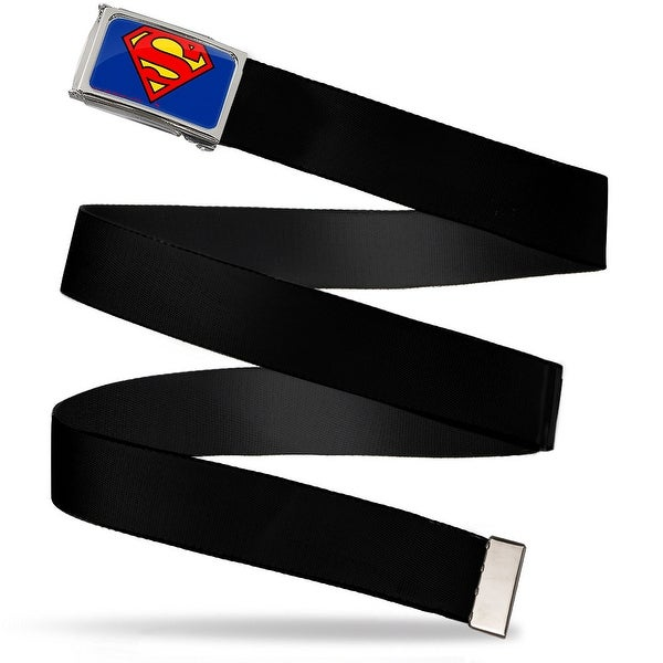 Superman Fcg Blue Chrome Black Webbing Web Belt