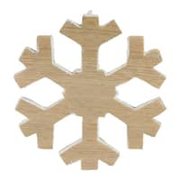 "7.5"" Faux Wood Grain Snowflake Christmas Decoration - brown"