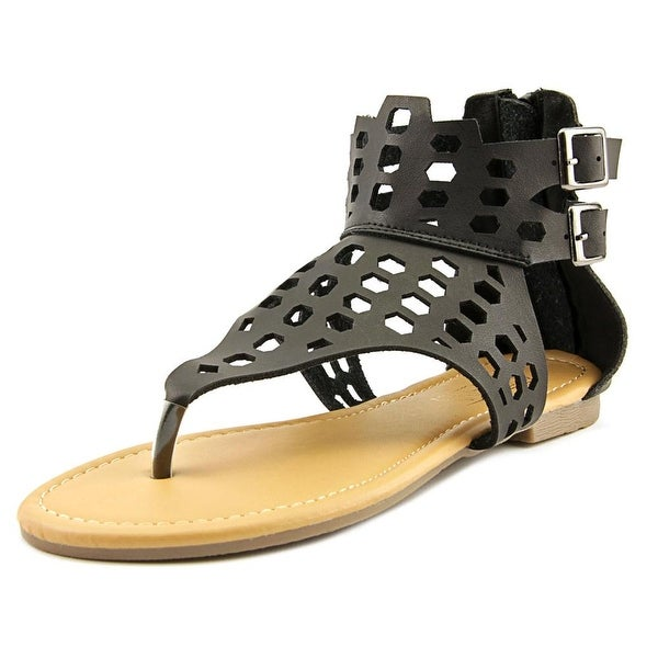 Adriana New York Acacia-17 Women Open Toe Synthetic Black Gladiator Sandal