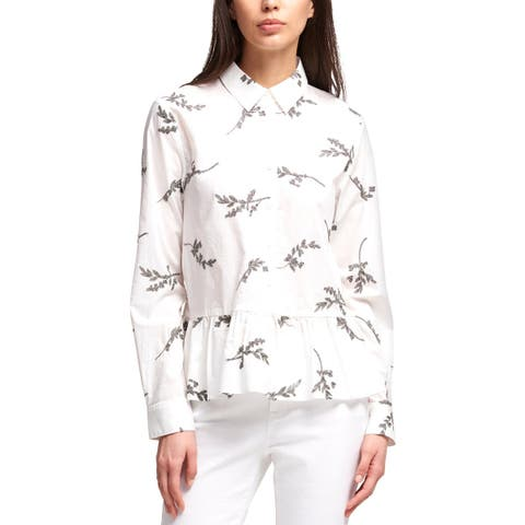 DKNY Womens Peplum Top Embroidered Button-Down