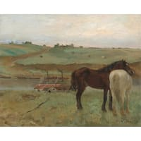 Horses in a Meadow Degas 1871 Masterpiece (100% Cotton Towel Absorbent)