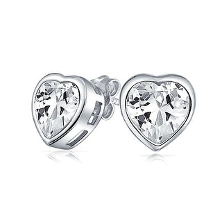 Bling Jewelry CZ Bezel Heart Stud earrings 925 Sterling Silver 7mm