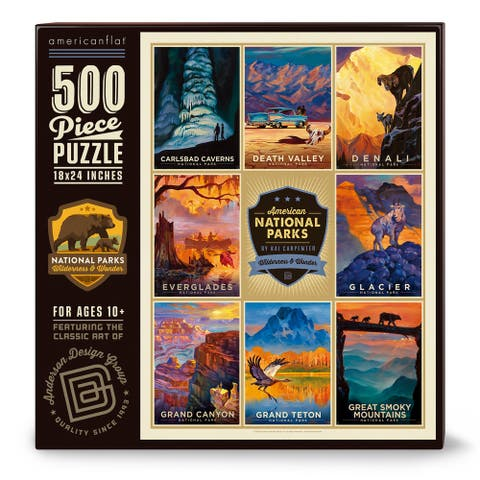 """Americanflat 500 Piece Jigsaw Puzzle, 18x24 Inches, American National Parks 2"""" Art by Anderson Design Group - 18 x 24"""