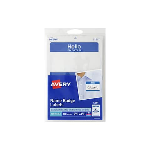 Avery Label Name Badge Hello My Name Is Blue 100pc
