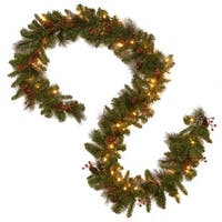 "9' x 10"" Pre-Lit B/O Crestwood Spruce Decorated Artificial Christmas Garland - Warm White LED Lights - green"