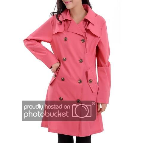 QZUnique Women's Waterproof Packable Rain Jacket Double Breasted Poncho Raincoat