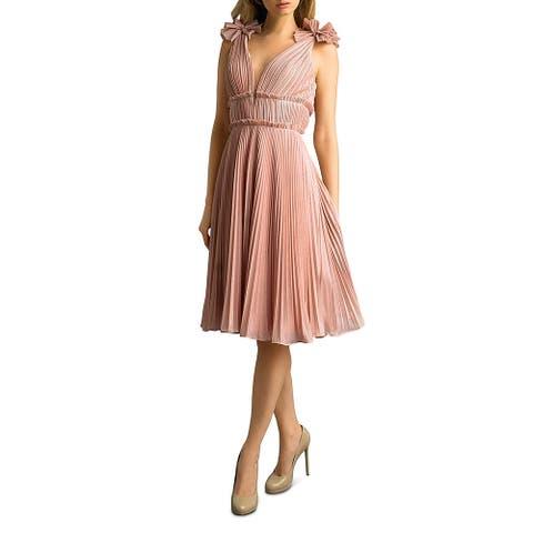 Basix Black Label Womens Midi Dress Pleated Floral Shoulder - Pink