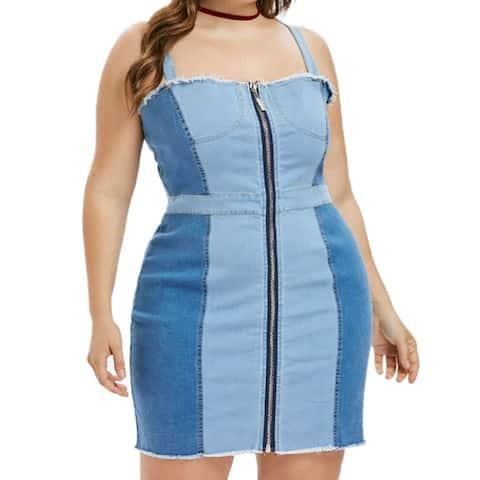 QZUnique Plus Color Block Zipper Closure Jean Dress Bodycon Spaghetti Strap Mini Denim Dress