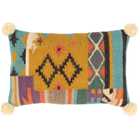 Dharma Wool Boho Pom Pom Lumbar Throw Pillow