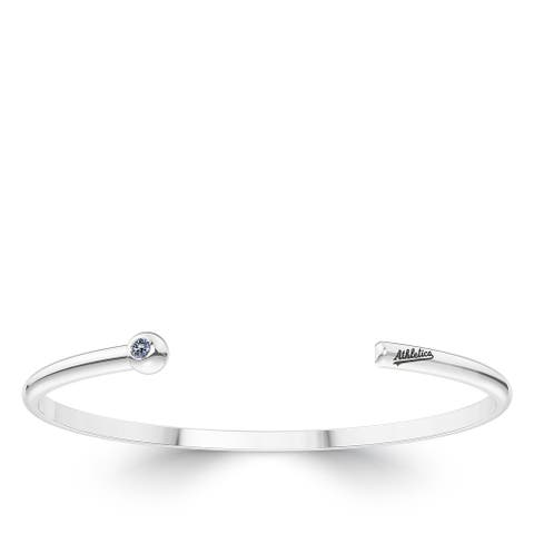 Oakland Athletics Engraved Sterling Silver White Sapphire Cuff Bracelet