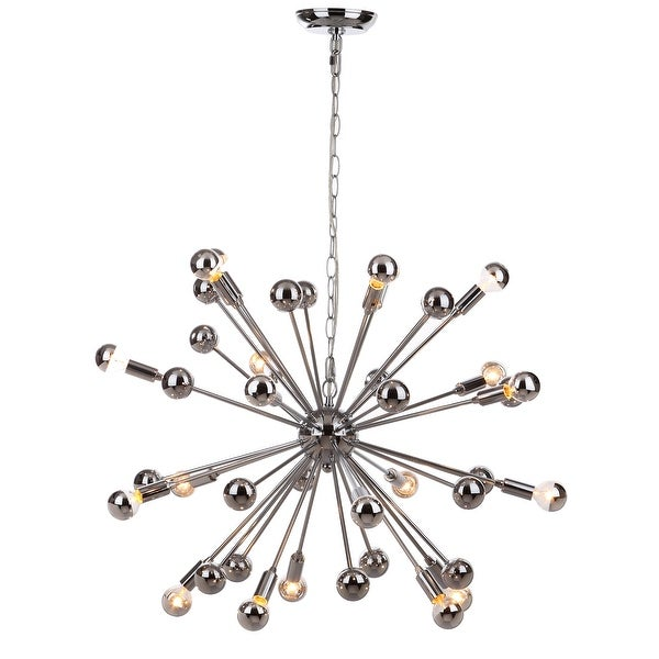 "Safavieh Lighting Starburst Sputnik 20-light Chrome Chandelier - 31""x31""x22-94"". Opens flyout."