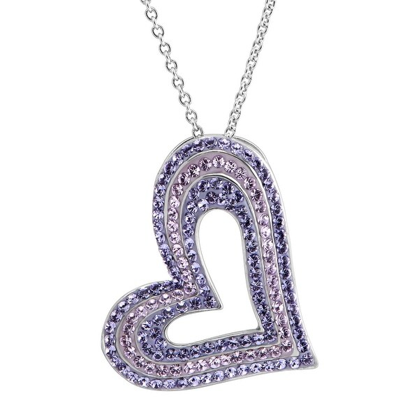 Concentric Heart Pendant with Purple Swarovski Elements Crystals in Sterling Silver
