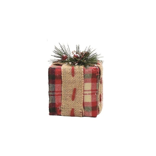 "4.5"" Rectangular Red, Brown and Green Plaid Gift Box with Pine Bow Table Top Christmas Decoration"