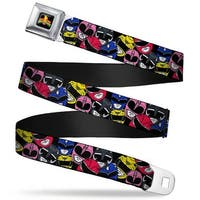 Power Rangers Logo Full Color Power Rangers Faces Stacked Webbing Seatbelt Seatbelt Belt