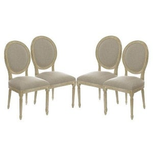 Set of 4 Vintage Antique French Style Round Upholstered Wood Side Dining Chairs/ Dinette Chairs / Kitchen Chairs