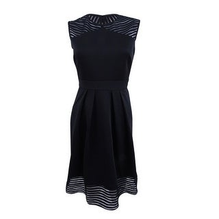 Sandra Darren Women's Petite Illusion Stripe Fit & Flare Dress - Black - 6