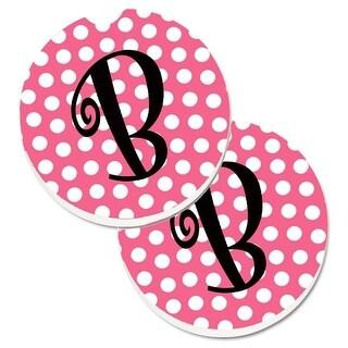 Letter B Monogram Pink & Black Polka Dots Set of 2 Cup Holder Car