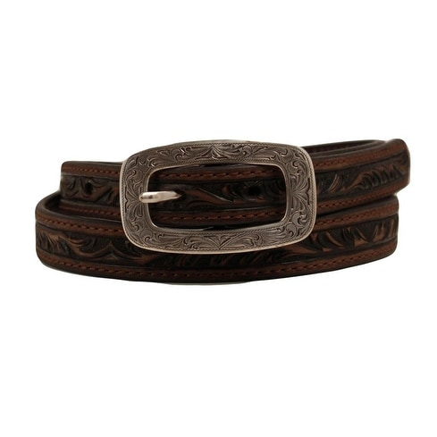 "Ariat Western Belt Womens Strap Embossed Leather 3/4"" Brown"