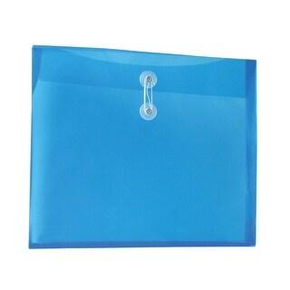 School Smart Polypropylene Reusable Side Loading String Envelope, Letter, 1-1/4 in Expansion, Assorted Color, Pack of 12