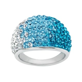 Crystaluxe Dome Ring with Teal-Sky-White Fade Swarovski Crystals in Sterling Silver - Blue