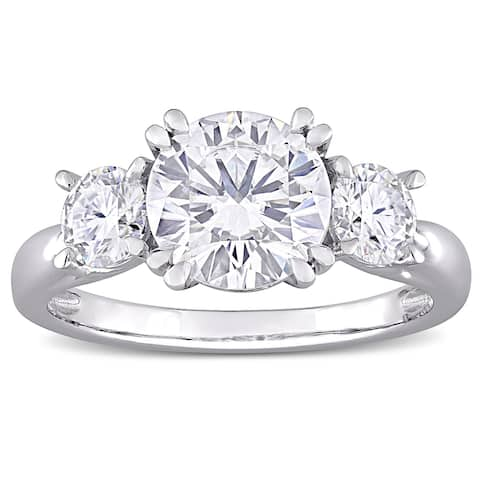 Miadora 10k White Gold 2 4/5ct TGW Created White Moissanite 3-Stone Engagement Ring
