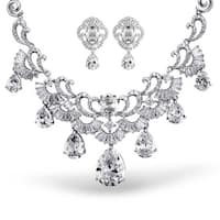 Bling Jewelry CZ Pear Vintage Style Statement Wedding Earrings Necklace Set Rhodium Plated
