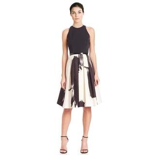 Carmen Marc Valvo Brush Stroke Belted Faille Cocktail Dress - 2