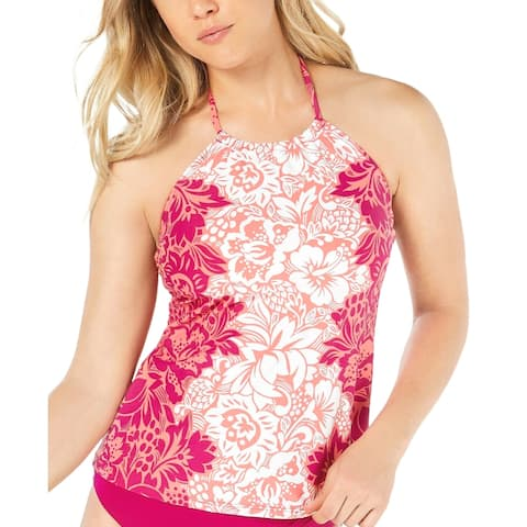 LAUREN RALPH LAUREN Hawaiian High Neck Halter Tankini Top, Pink, 14