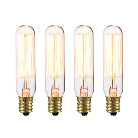 Globe Electric 80151 Pack of (4) - 40W Mini Tube Vintage Edison Dimmable Incandescent Bulbs with Candelabra (E12) Base