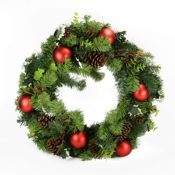 """24"""" Pre-Decorated Pine Cone and Eucalyptus Artificial Christmas Wreath - Unlit"""